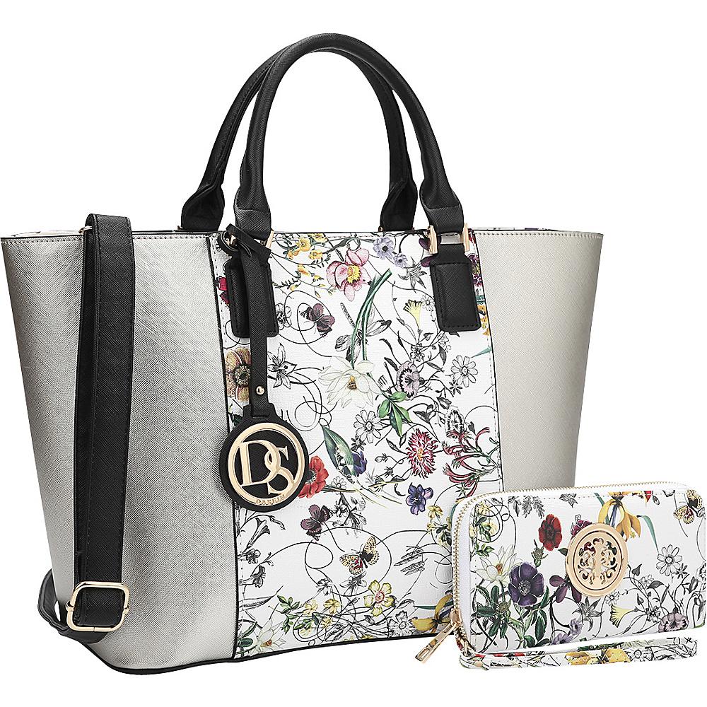 Dasein Medium Classic Satchel with Matching Wallet Silver/White Flower - Dasein Manmade Handbags - Handbags, Manmade Handbags