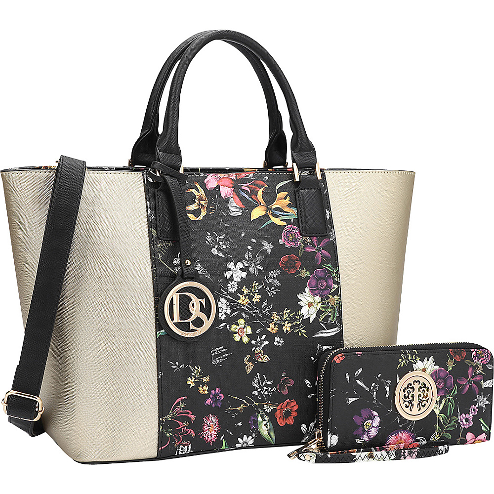 Dasein Medium Classic Satchel with Matching Wallet Gold/Black Flower - Dasein Manmade Handbags - Handbags, Manmade Handbags