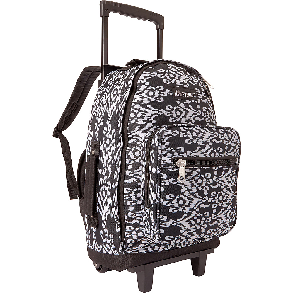 Everest Wheeled Pattern Backpack Black/White Ikat - Everest Wheeled Backpacks - Backpacks, Wheeled Backpacks