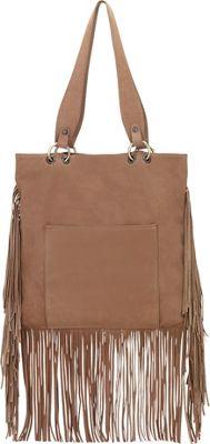 TrueLu The Skye Fringe Tote Fawn - TrueLu Leather Handbags