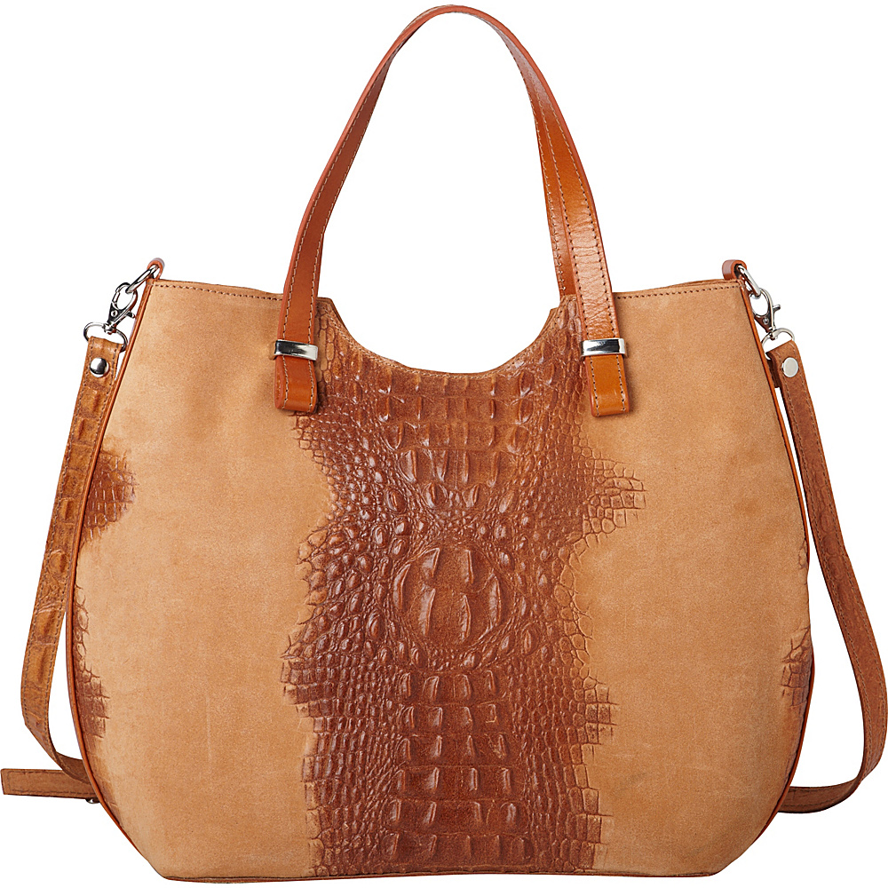 Sharo Leather Bags Alligator Textured Italian Made Leather Tote And Shoulder Bag Apricot Sharo Leather Bags Leather Handbags