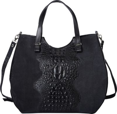Sharo Leather Bags Alligator Textured Italian Made Leather Tote and Shoulder Bag Black - Sharo Leather Bags Leather Handbags