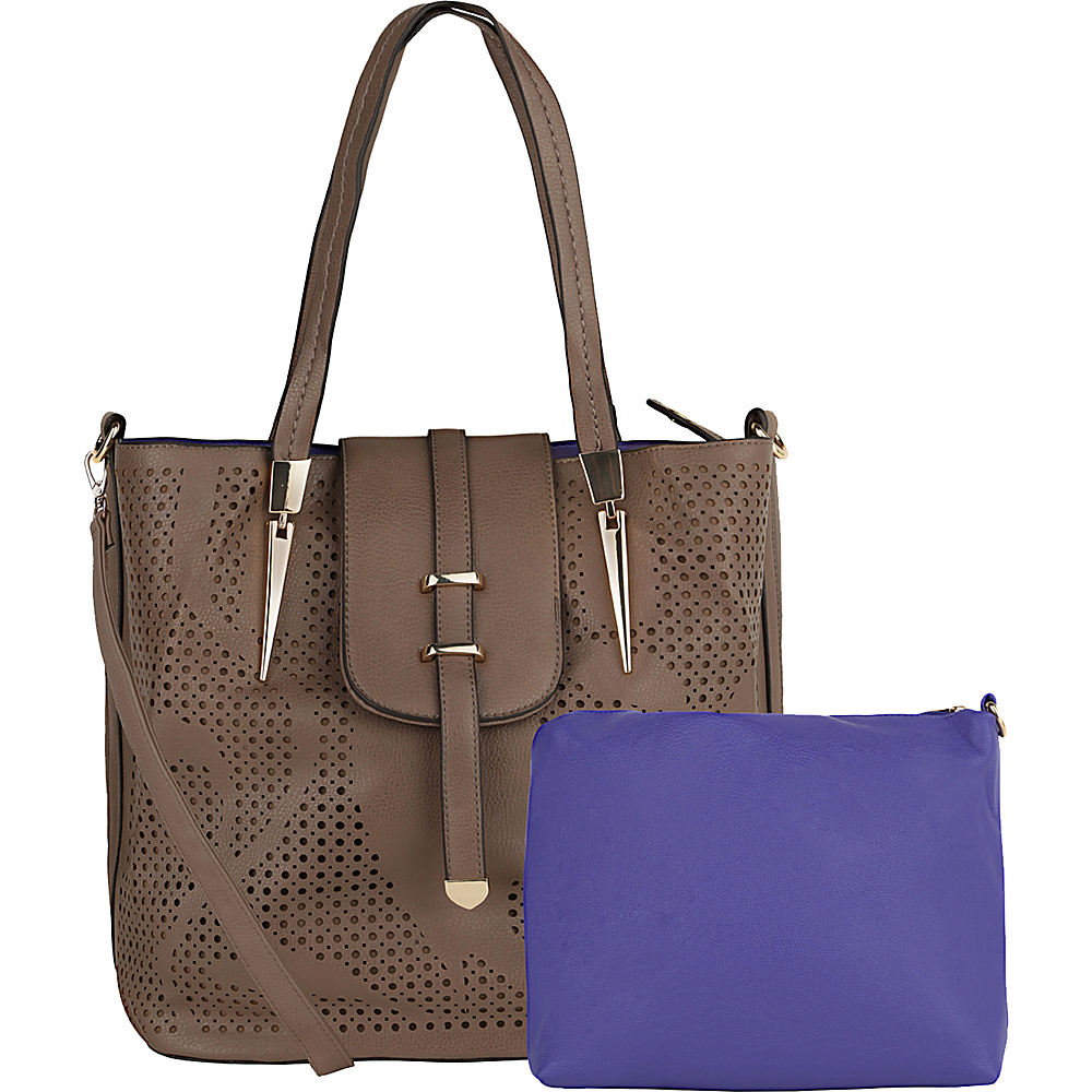 MKF Collection by Mia K. Farrow Elmo Handbag with Cosmetic Bag Khaki - MKF Collection by Mia K. Farrow Manmade Handbags - Handbags, Manmade Handbags