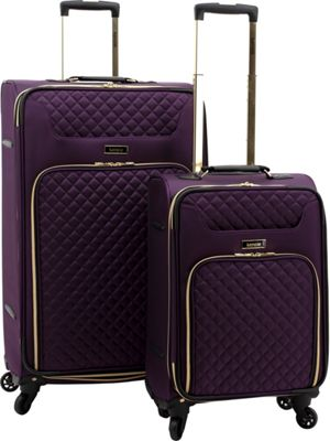 Kensie Luggage 2-Piece Twill Softside Expandable Dual-Spinner Luggage Set Purple - Kensie Luggage Luggage Sets