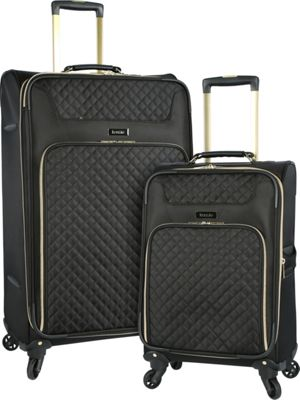 Kensie Luggage 2-Piece Softside Expandable Dual-Spinner Luggage Set Black - Kensie Luggage Luggage Sets