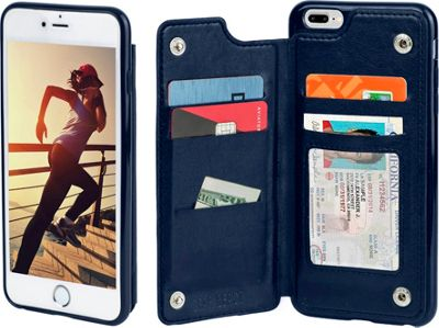 Gear Beast iPhone 7 Plus Top View Wallet Folio Case Navy Blue - iPhone 7 Plus - Gear Beast Electronic Cases