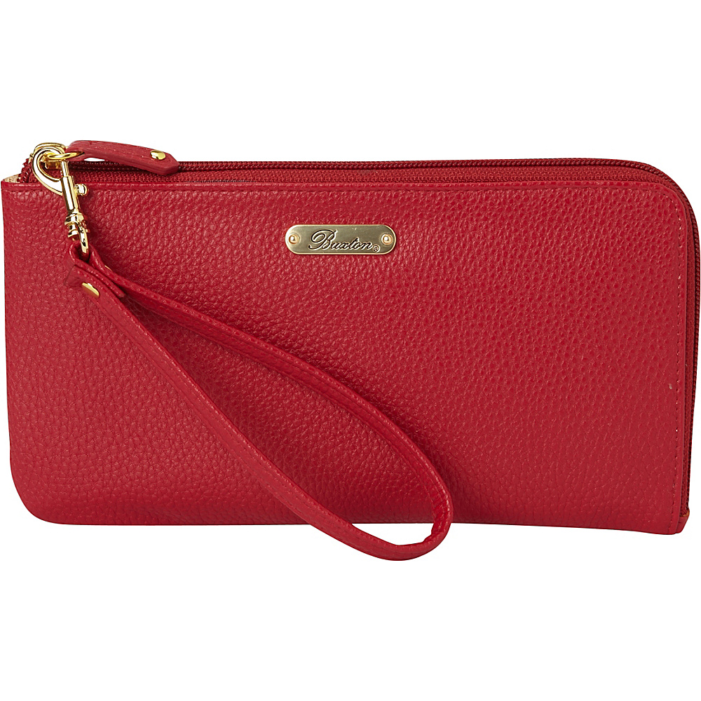 Buxton Powered-Up Battery RFID L-Zip Expandable Wallet with Removable Strap & Battery Pack Red - Buxton Manmade Handbags - Handbags, Manmade Handbags