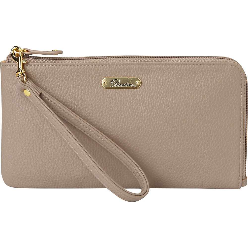 Buxton Powered-Up Battery RFID L-Zip Expandable Wallet with Removable Strap & Battery Pack Wisteria - Buxton Manmade Handbags - Handbags, Manmade Handbags