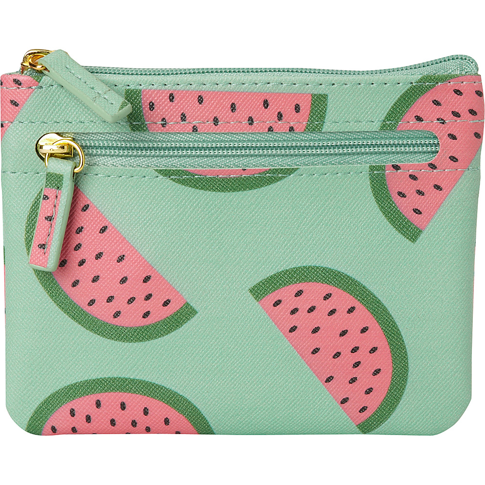 Buxton Fruit Punch Pik-Me-Up Large I.D. Coin / Card Case Grayed Jade - Buxton Womens Wallets - Women's SLG, Women's Wallets