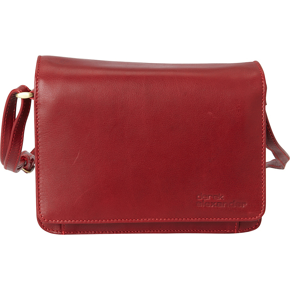 Derek Alexander EW 3/4 Flap Front Organizer Crossbody Red - Derek Alexander Leather Handbags - Handbags, Leather Handbags