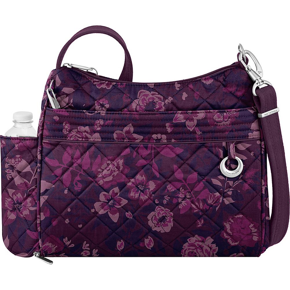 Travelon Anti-Theft Boho Square Crossbody Wine Rose/Fawn Interior - Travelon Leather Handbags - Handbags, Leather Handbags