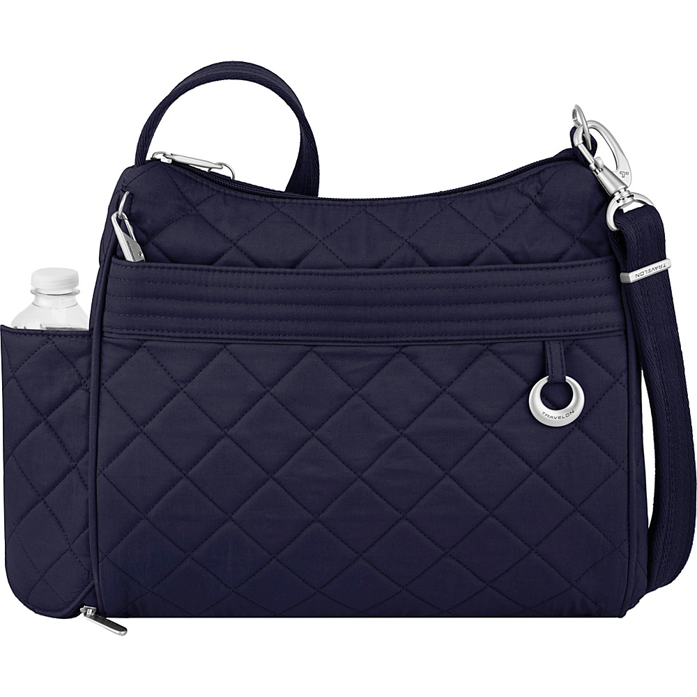 Travelon Anti-Theft Boho Square Crossbody Navy/Leaf Interior - Travelon Fabric Handbags - Handbags, Fabric Handbags