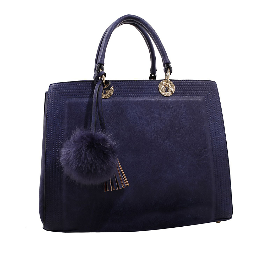 MKF Collection Pom Pom Satchel Blue - MKF Collection Manmade Handbags - Handbags, Manmade Handbags