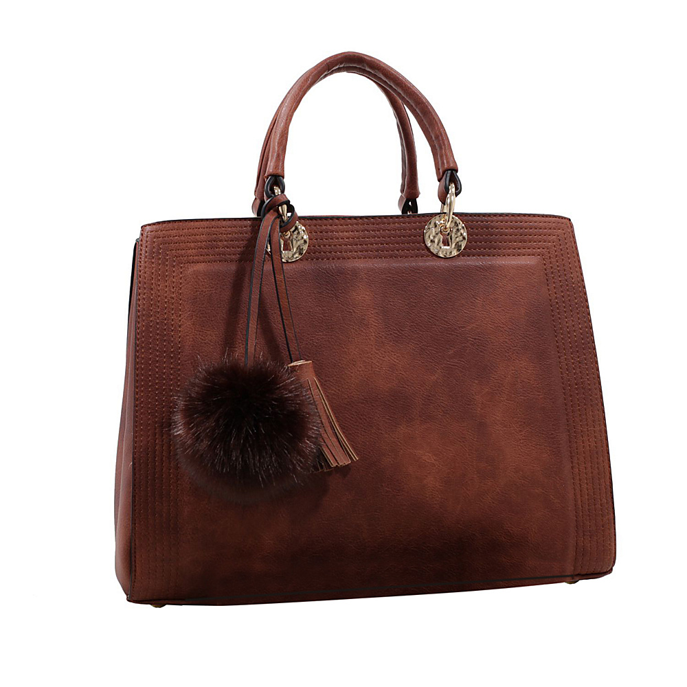 MKF Collection Pom Pom Satchel Light Brown - MKF Collection Manmade Handbags - Handbags, Manmade Handbags