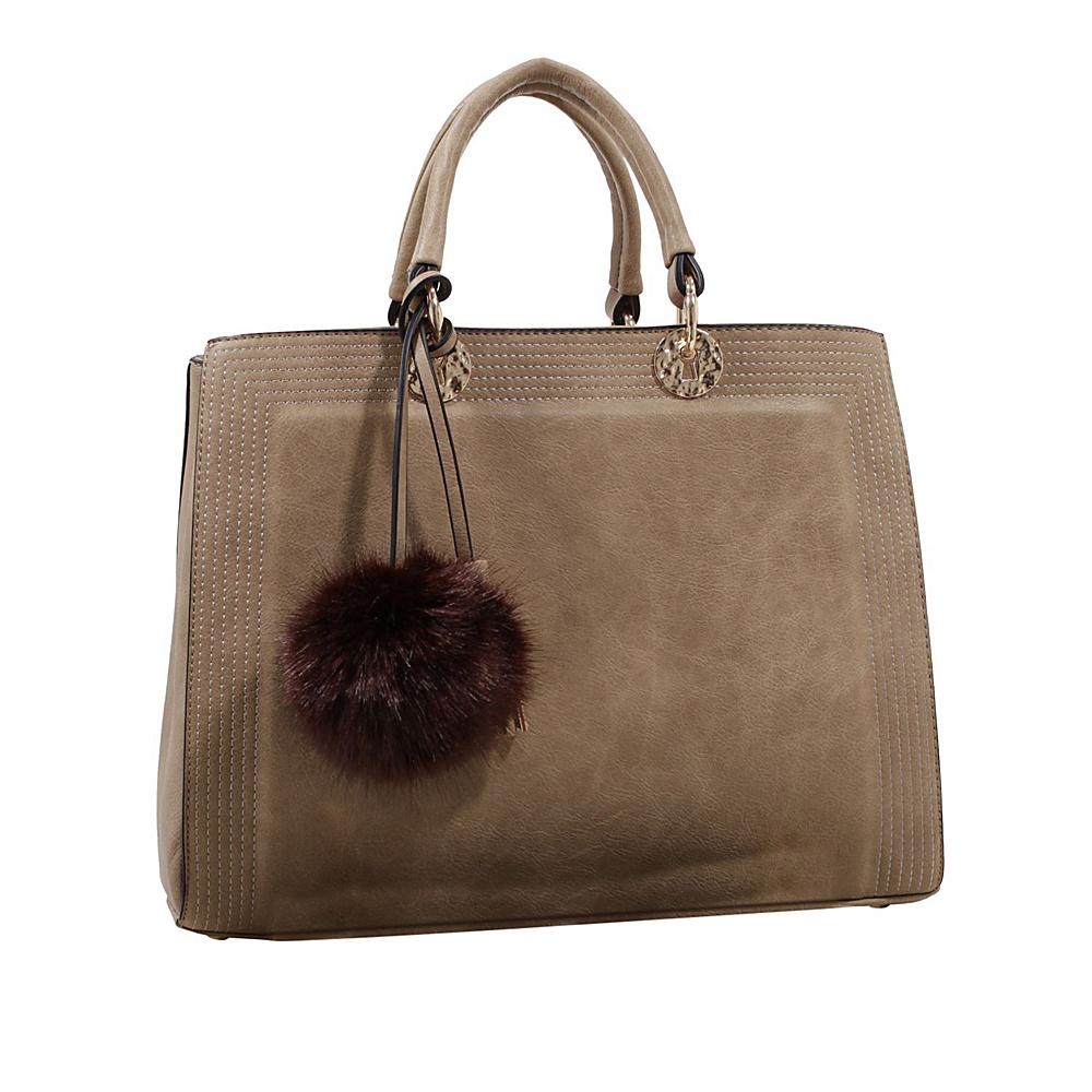 MKF Collection by Mia K. Farrow Pom Pom Satchel Light Khaki - MKF Collection by Mia K. Farrow Manmade Handbags - Handbags, Manmade Handbags