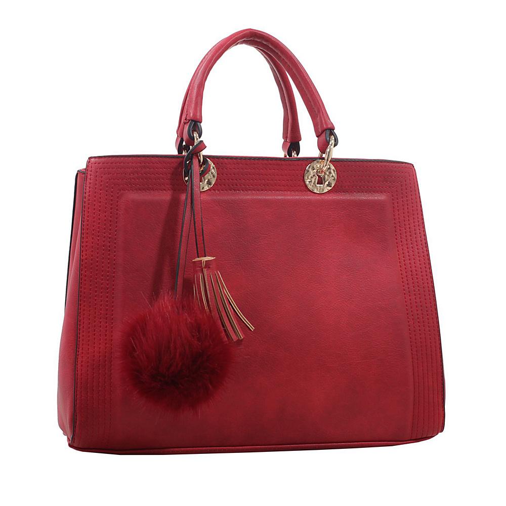 MKF Collection by Mia K. Farrow Pom Pom Satchel Red - MKF Collection by Mia K. Farrow Manmade Handbags - Handbags, Manmade Handbags