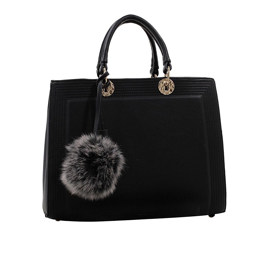 MKF Collection by Mia K. Farrow Pom Pom Satchel Black - MKF Collection by Mia K. Farrow Manmade Handbags - Handbags, Manmade Handbags
