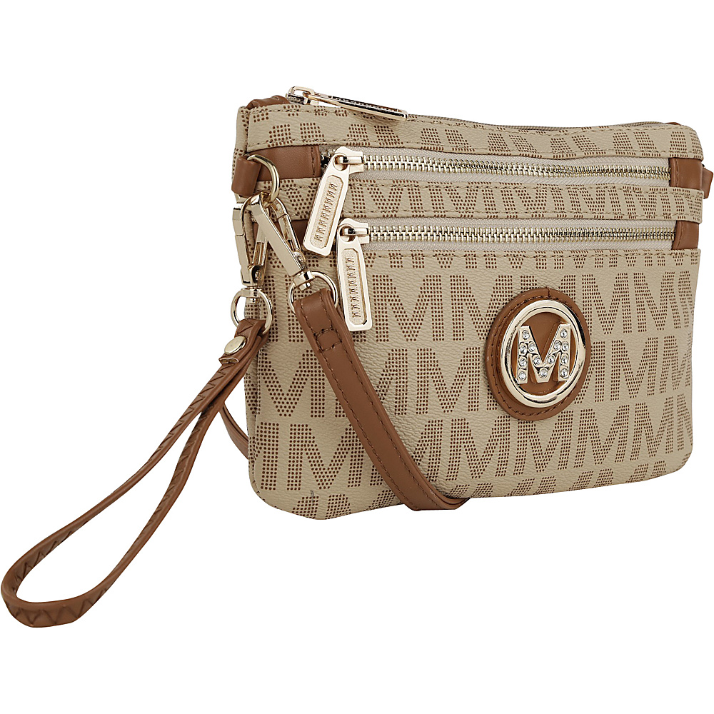MKF Collection Geneve M Signature Crossbody & Wristlet Beige - MKF Collection Manmade Handbags - Handbags, Manmade Handbags