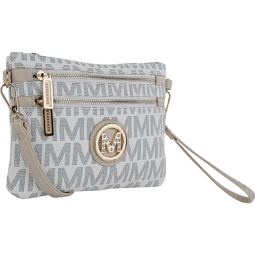 MKF Collection Geneve M Signature Crossbody & Wristlet White - MKF Collection Manmade Handbags - Handbags, Manmade Handbags