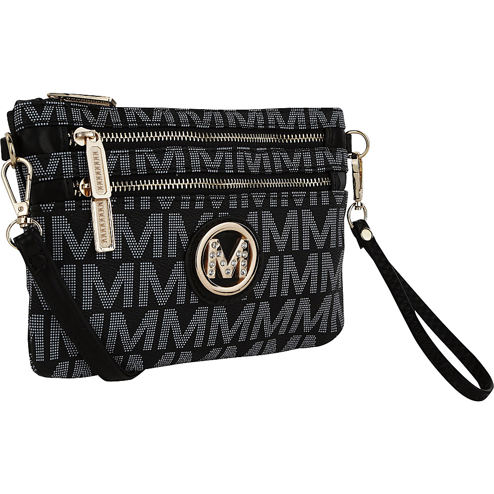 MKF Collection Geneve M Signature Crossbody & Wristlet Black - MKF Collection Manmade Handbags - Handbags, Manmade Handbags