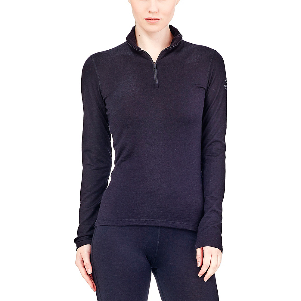 Icebreaker Womens Oasis Long Sleeve Half Zip XL - Black - Icebreaker Womens Apparel - Apparel & Footwear, Women's Apparel