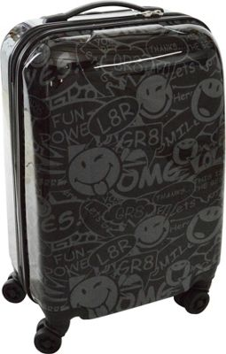 Smiley Stealth 30 inch Spinner Black - Smiley Hardside Luggage