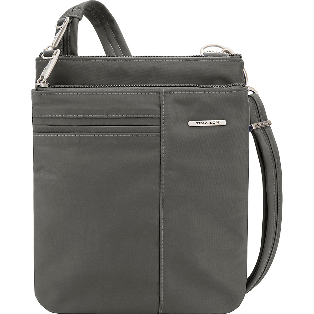 Travelon Anti-Theft Welted Small North/South Crossbody Bag - Exclusive Gray - Travelon Fabric Handbags - Handbags, Fabric Handbags
