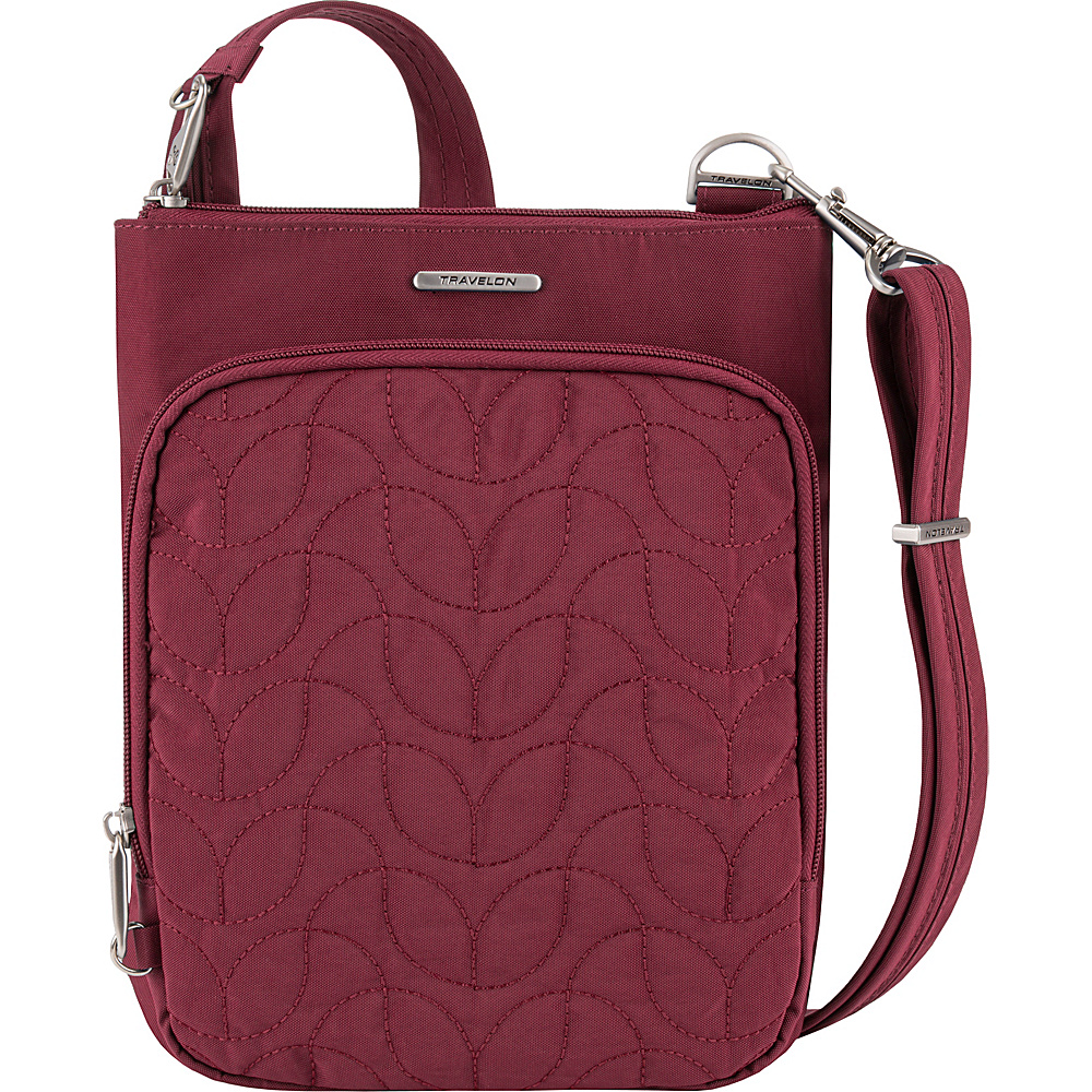 Travelon Anti-Theft Quilted Small North/South Crossbody Bag - Exclusive Ruby/Dusty Rose Interior - Travelon Fabric Handbags - Handbags, Fabric Handbags