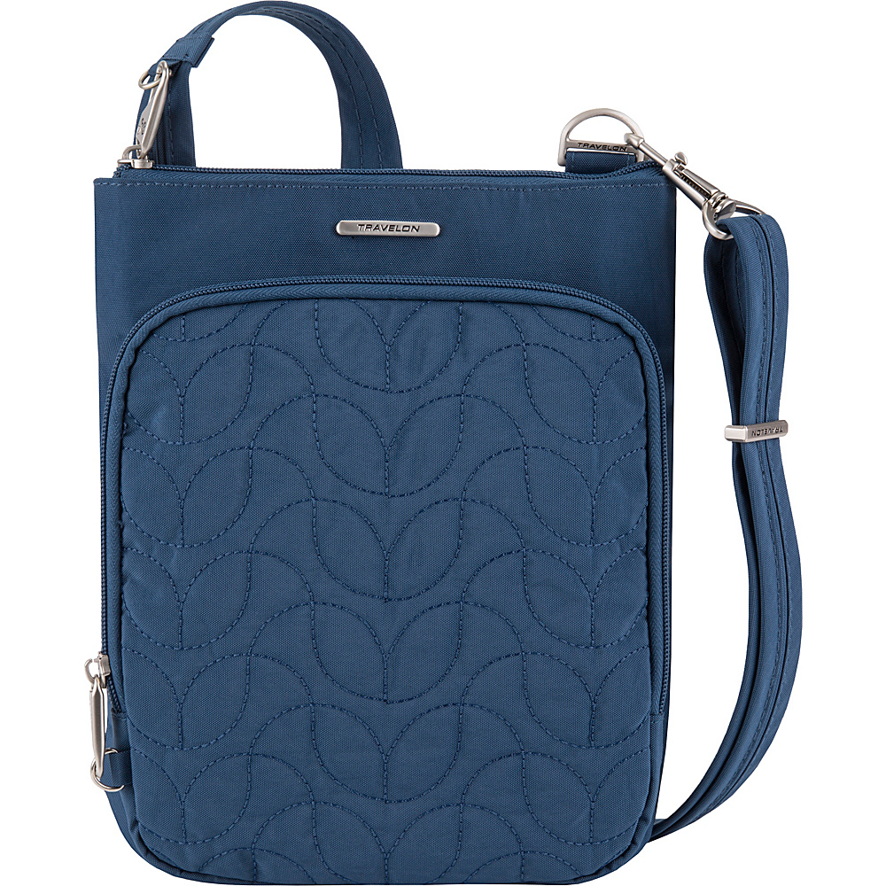 Travelon Anti-Theft Quilted Small North/South Crossbody Bag - Exclusive Ocean/Teal Interior - Travelon Fabric Handbags - Handbags, Fabric Handbags
