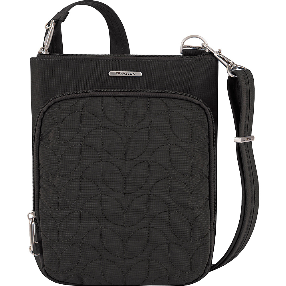 Travelon Anti-Theft Quilted Small North/South Crossbody Bag - Exclusive Black/Dark Emerald Interior - Travelon Fabric Handbags - Handbags, Fabric Handbags