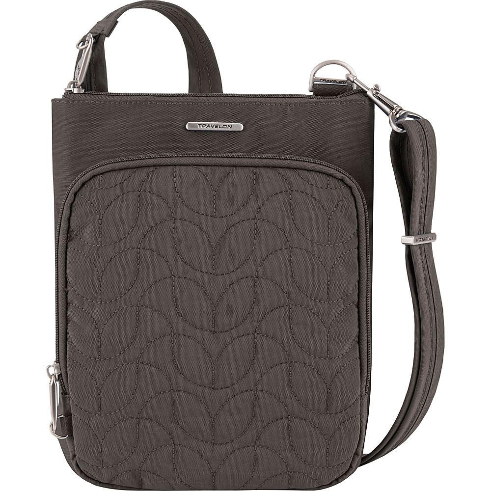 Travelon Anti-Theft Quilted Small North/South Crossbody Bag - Exclusive Smoke/Teal Interior - Travelon Fabric Handbags - Handbags, Fabric Handbags