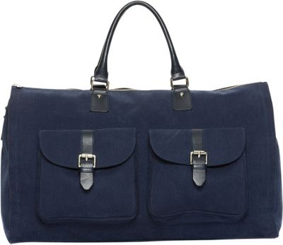 Hook & Albert Hook & Albert Waxed Canvas Garment Weekender Bag Navy - Hook & Albert Travel Duffels