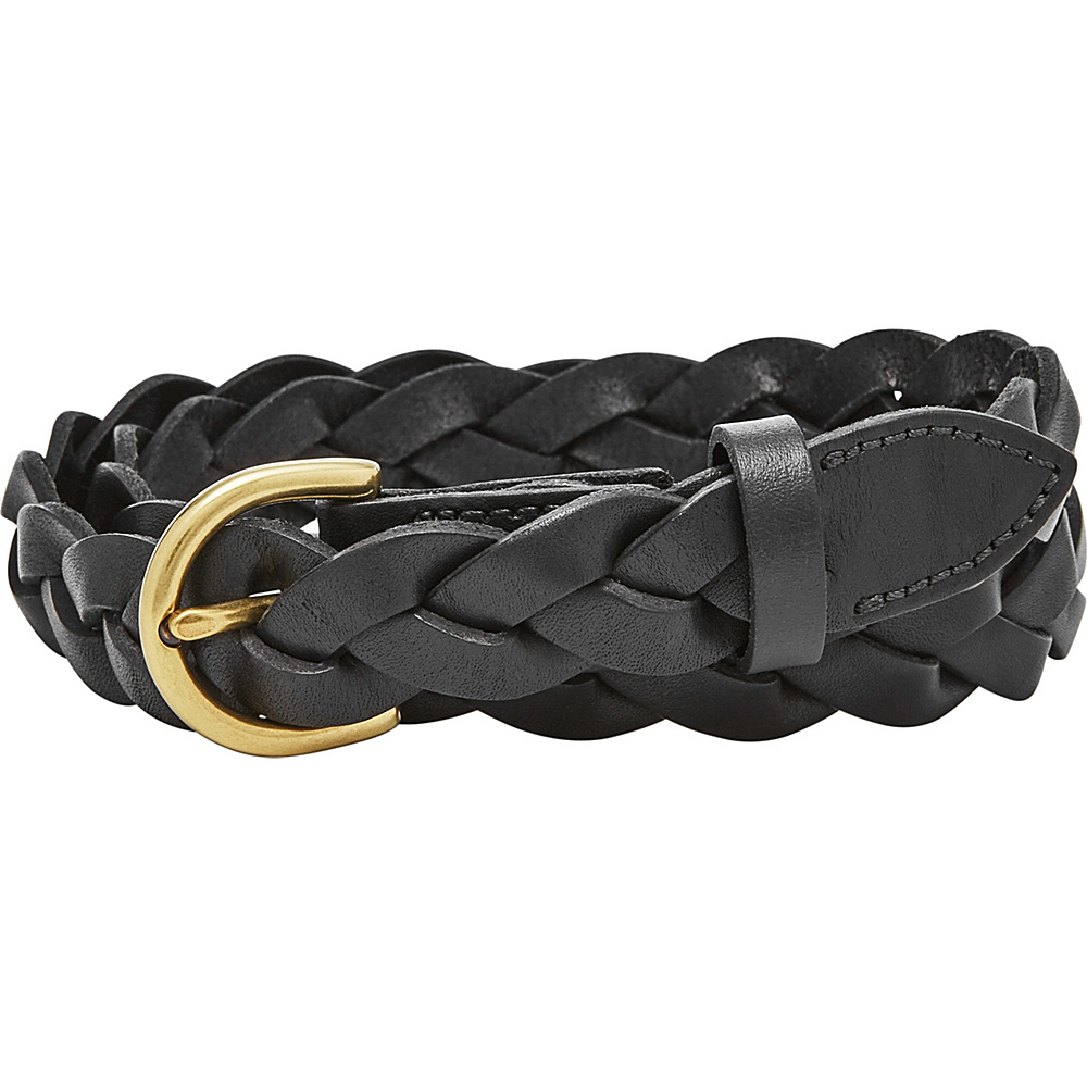 Fossil Skinny Braid Belt S - Black - Fossil Belts - Fashion Accessories, Belts