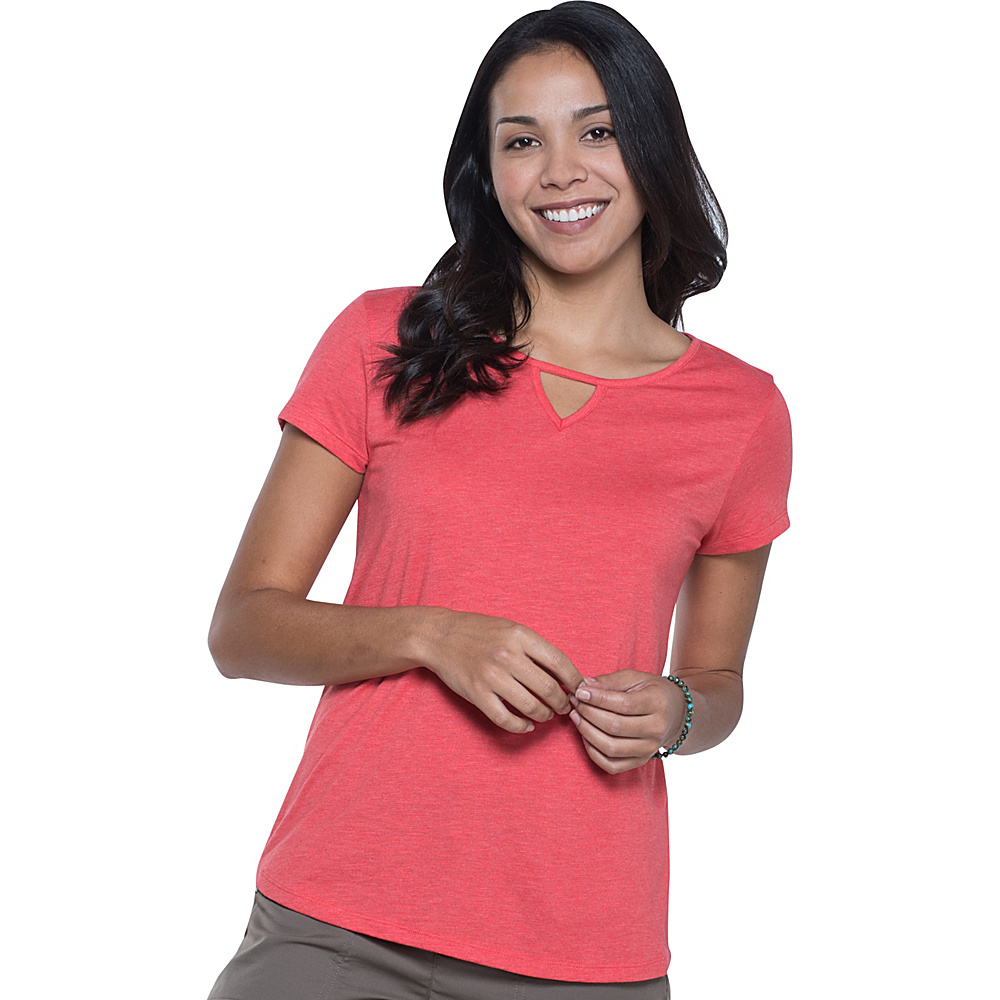 Toad & Co Palmilla Cutout Short Sleeve Tee L - Bright Coral - Toad & Co Womens Apparel - Apparel & Footwear, Women's Apparel