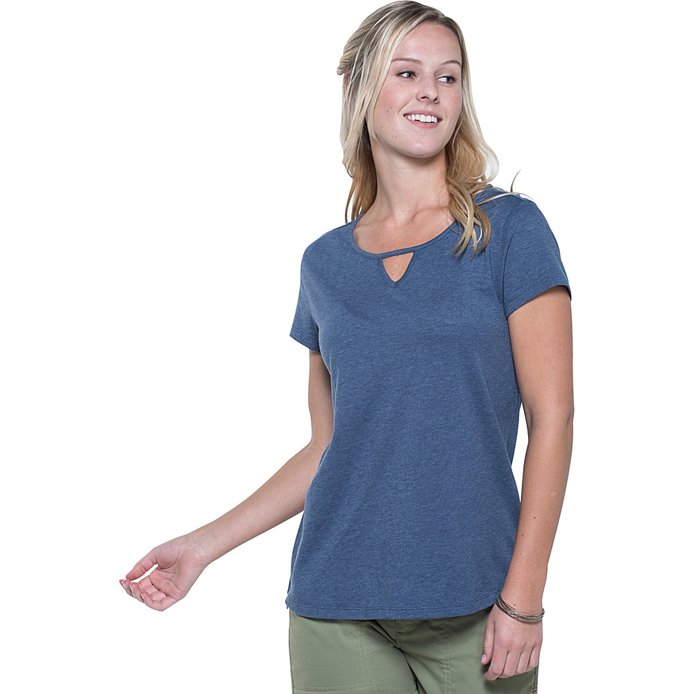 Toad & Co Palmilla Cutout Short Sleeve Tee M - Indigo - Toad & Co Womens Apparel - Apparel & Footwear, Women's Apparel