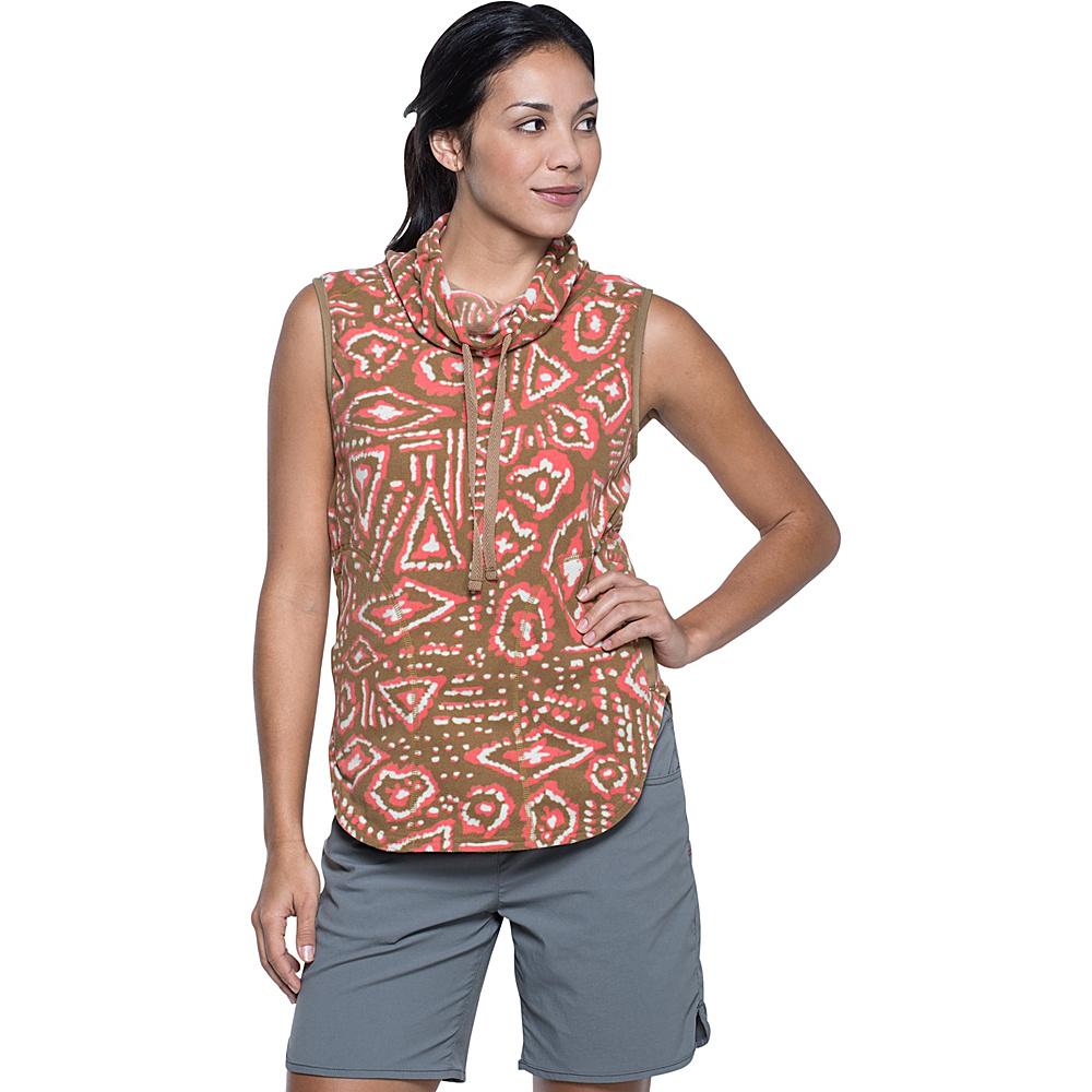 Toad & Co Sundowner Fleece Vest XS - Honey Brown Brush Print - Toad & Co Womens Apparel - Apparel & Footwear, Women's Apparel