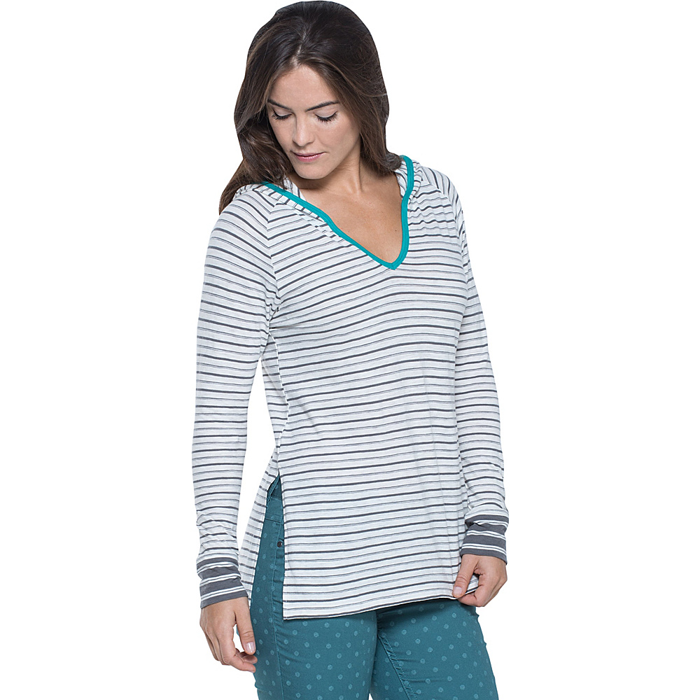 Toad & Co Slubstripe Hoodie S - Smoke Varied Stripe - Toad & Co Womens Apparel - Apparel & Footwear, Women's Apparel