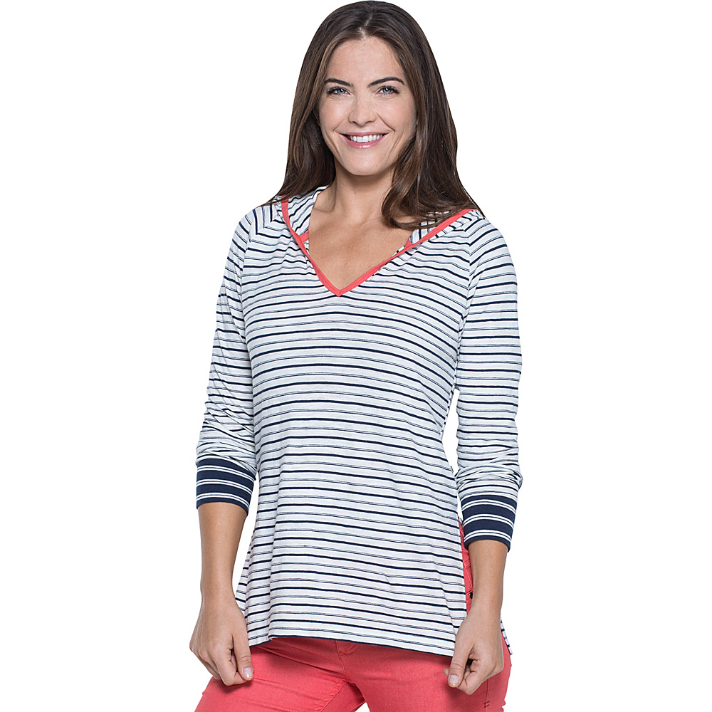 Toad & Co Slubstripe Hoodie S - Deep Navy Varied Stripe - Toad & Co Womens Apparel - Apparel & Footwear, Women's Apparel