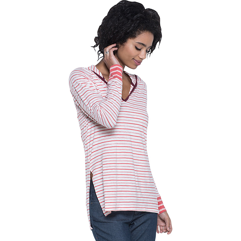 Toad & Co Slubstripe Hoodie XS - Spiced Coral Varied Stripe - Toad & Co Womens Apparel - Apparel & Footwear, Women's Apparel