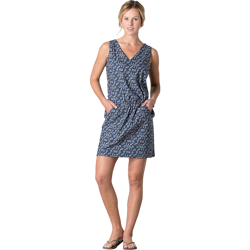 Toad & Co Liv Dress L - Deep Navy Flag Print - Toad & Co Womens Apparel - Apparel & Footwear, Women's Apparel