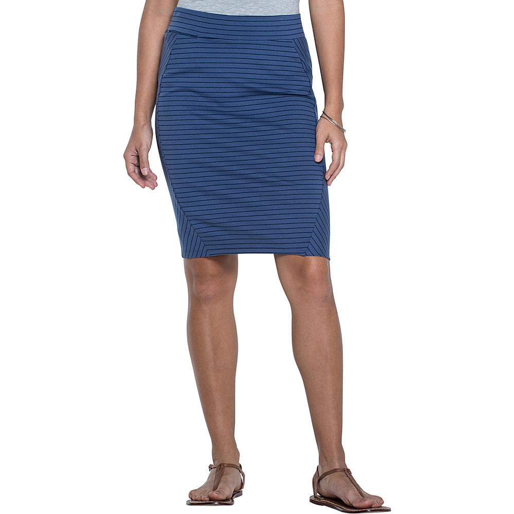 Toad & Co Transita Skirt 21 Inch S - Indigo Thin Stripe - Toad & Co Womens Apparel - Apparel & Footwear, Women's Apparel