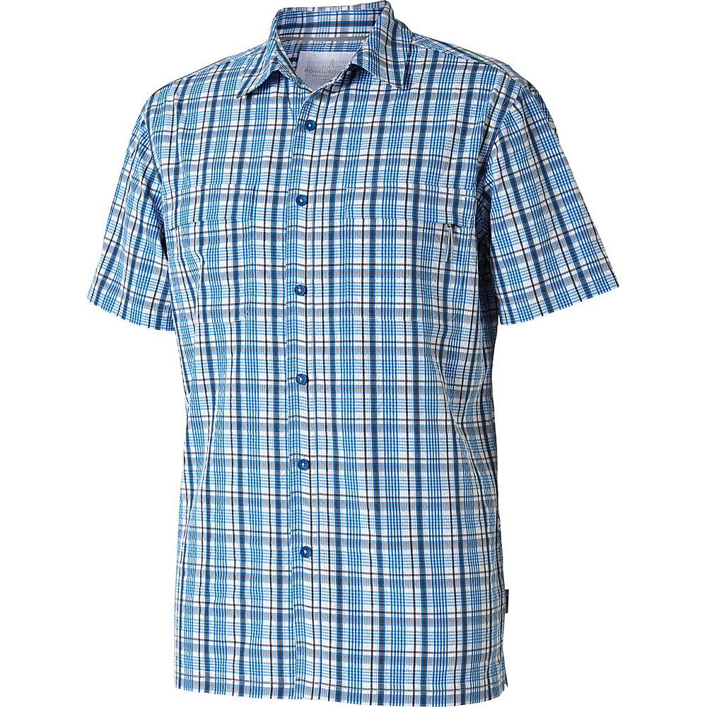 Royal Robbins Mens Diablo Plaid Short Sleeve Shirt M - Merlin Blue - Royal Robbins Mens Apparel - Apparel & Footwear, Men's Apparel