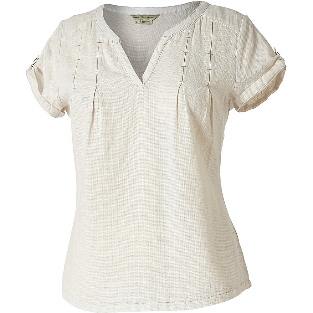 Royal Robbins Womens Cool Mesh Short Sleeve Shirt L - Creme - Royal Robbins Womens Apparel - Apparel & Footwear, Women's Apparel