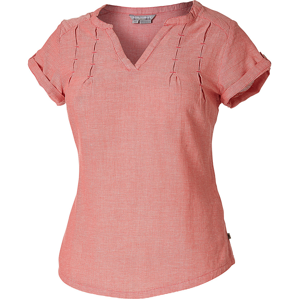 Royal Robbins Womens Cool Mesh Short Sleeve Shirt L - Dark Coral - Royal Robbins Womens Apparel - Apparel & Footwear, Women's Apparel