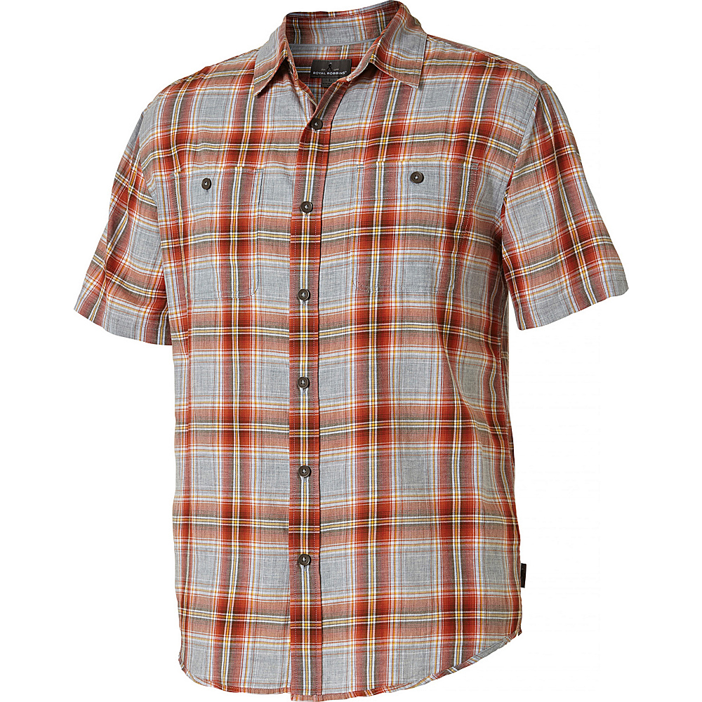 Royal Robbins PoMens int Reyes Plaid Short Sleeve Shirt XXL - Crimson - Royal Robbins Mens Apparel - Apparel & Footwear, Men's Apparel