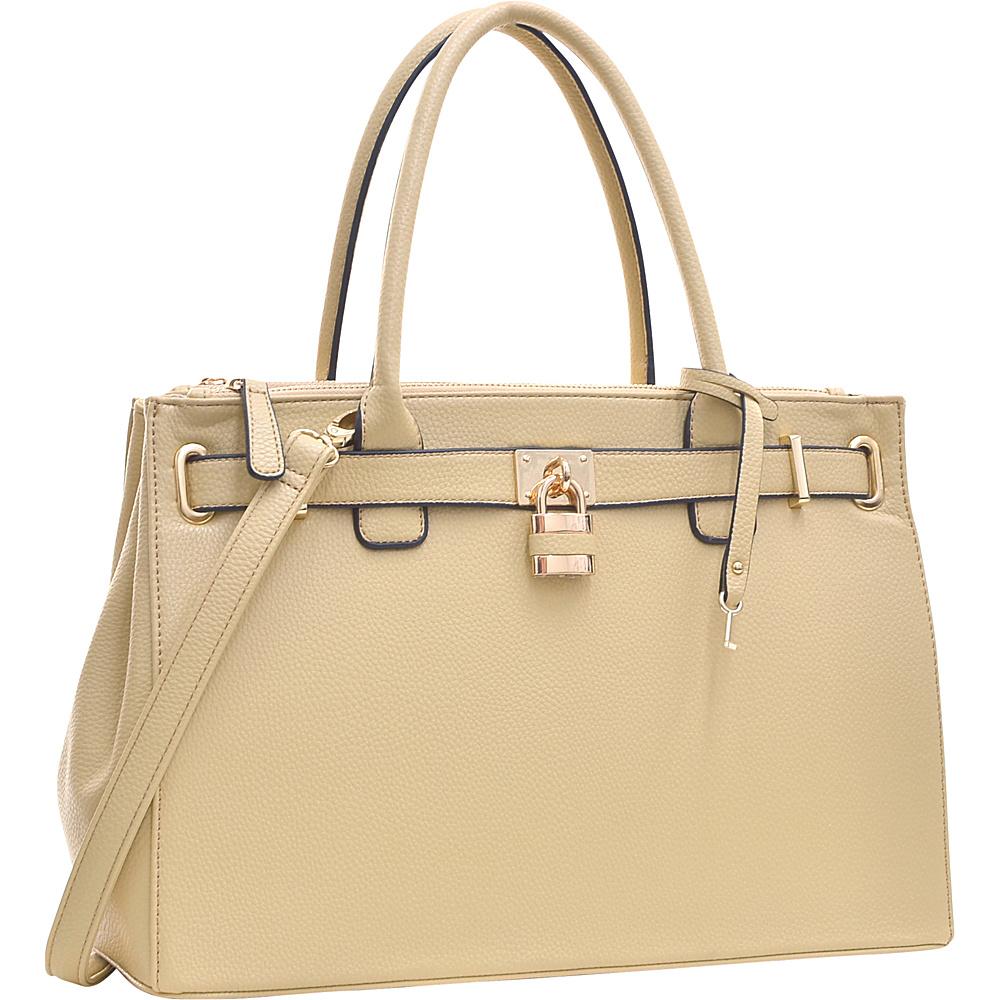 Dasein Padlock Double Zipper Satchel Beige - Dasein Manmade Handbags - Handbags, Manmade Handbags