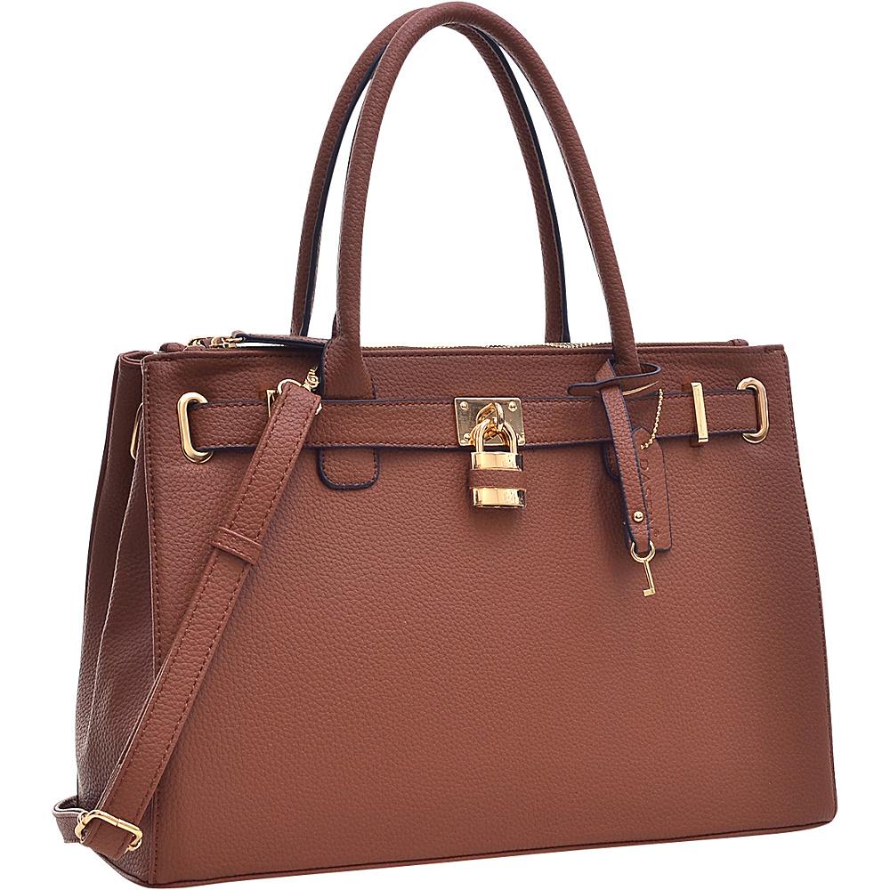 Dasein Padlock Double Zipper Satchel Coffee - Dasein Manmade Handbags - Handbags, Manmade Handbags