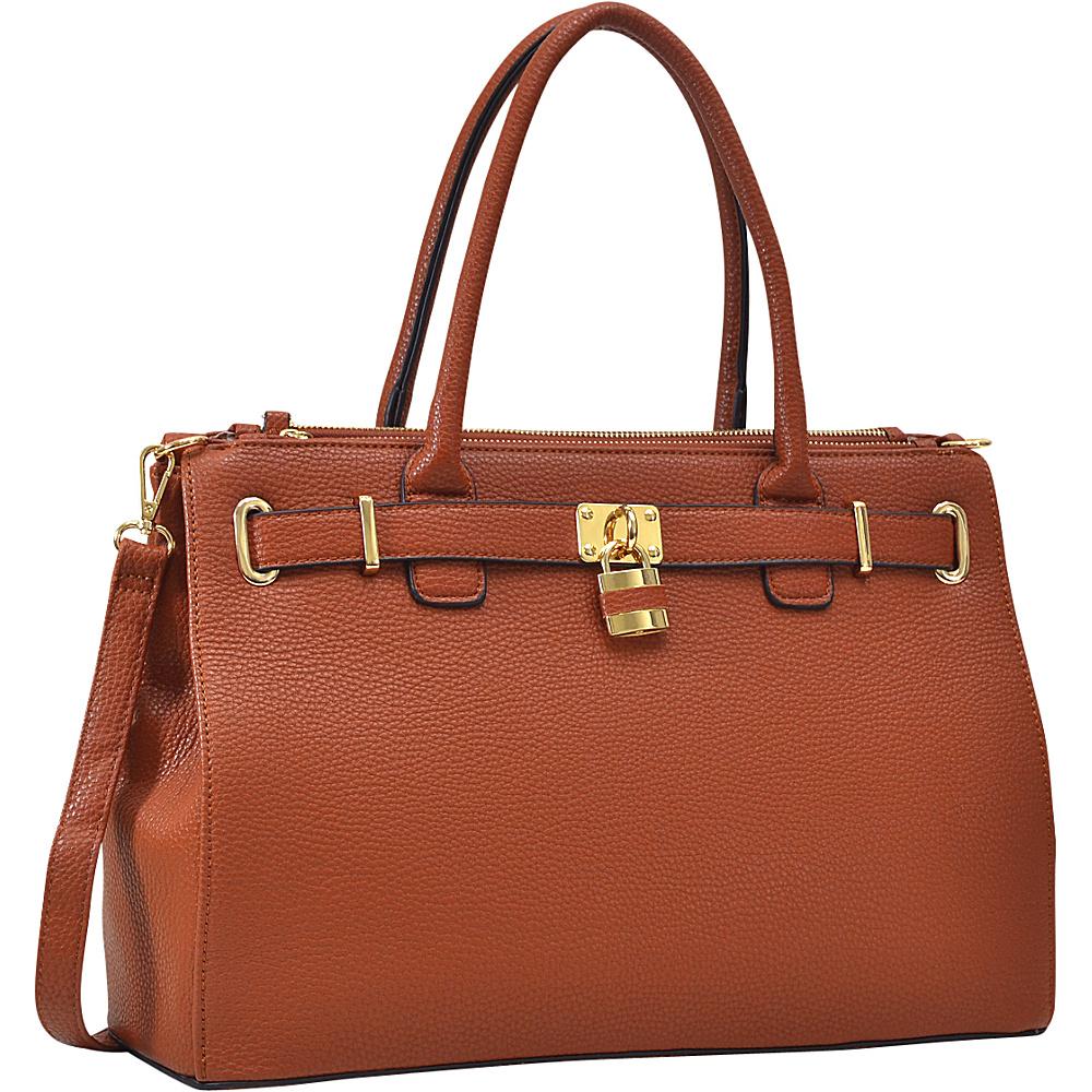 Dasein Padlock Double Zipper Satchel Cognac - Dasein Manmade Handbags - Handbags, Manmade Handbags