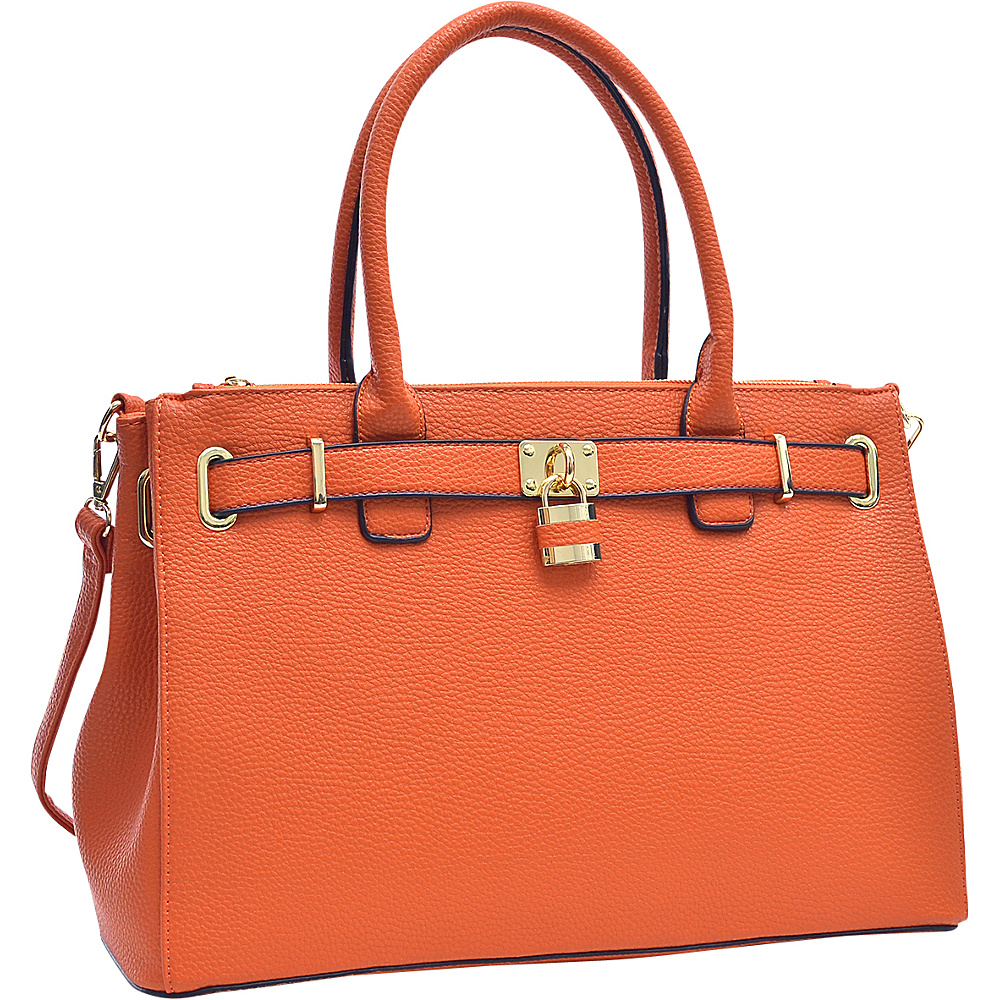 Dasein Padlock Double Zipper Satchel Orange - Dasein Manmade Handbags - Handbags, Manmade Handbags