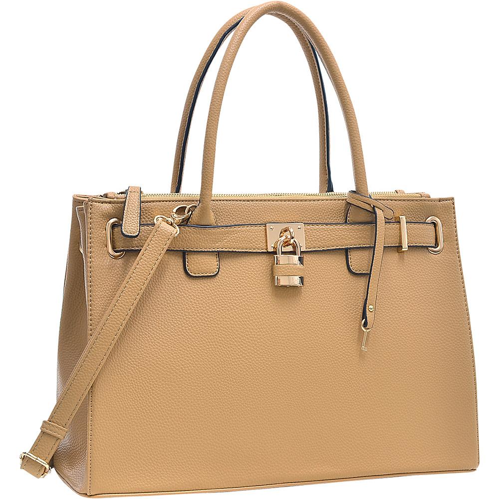 Dasein Padlock Double Zipper Satchel Tan - Dasein Manmade Handbags - Handbags, Manmade Handbags